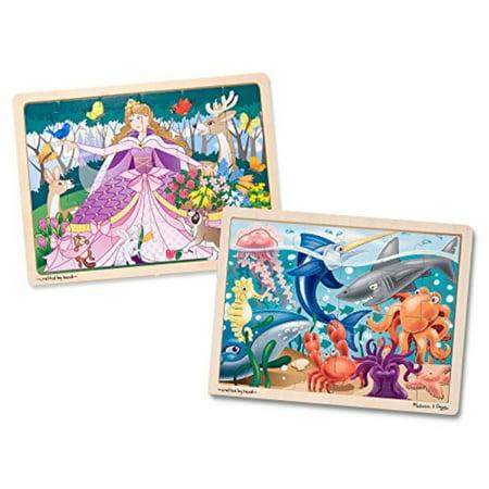 Melissa & Doug Wooden Jigsaw Puzzles Set - Under the Sea and Woodland Princess - image 4 de 4