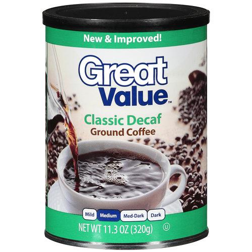 Great Value Classic Decaf Medium Roast Ground Coffee, 11.3 oz