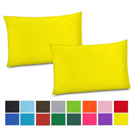 Gilbins Cotton/Percale 210 Thread Count Set of 2 Soft Home Bedroom Pillowcases- Yellow (Powder Blue Pillowcases)