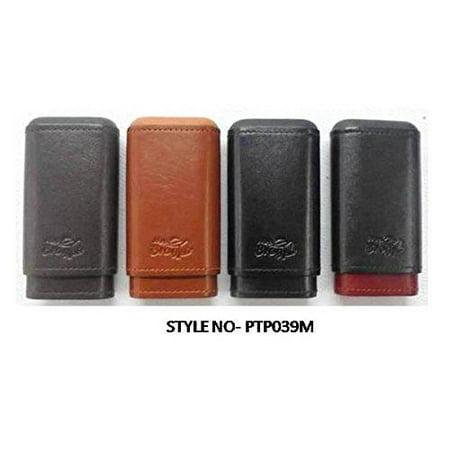 Spanish Cedar and Leather Cigar Case - Authentic Full Grade Buffalo Hide Leather - Black
