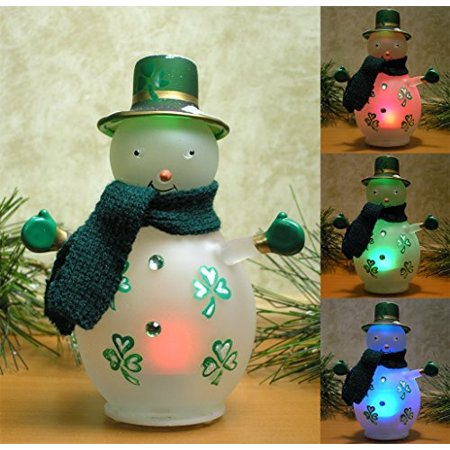 Irish Snowman - LED Lighted Glass Snowman with Painted Shamrocks