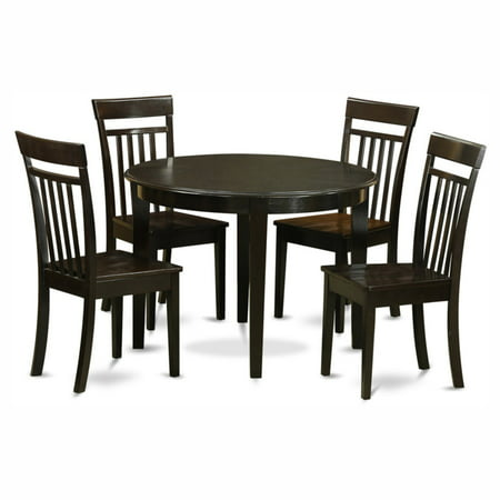 East West Furniture Boston 5 Piece Round Dining Table Set with Capris Wooden Seat Chairs