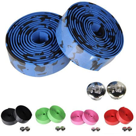 Cheers 2Pcs Cycling Road Bike Sports Bicycle Handlebar Rubber Tape Wrap with 2 Bar Plug - image 6 de 7