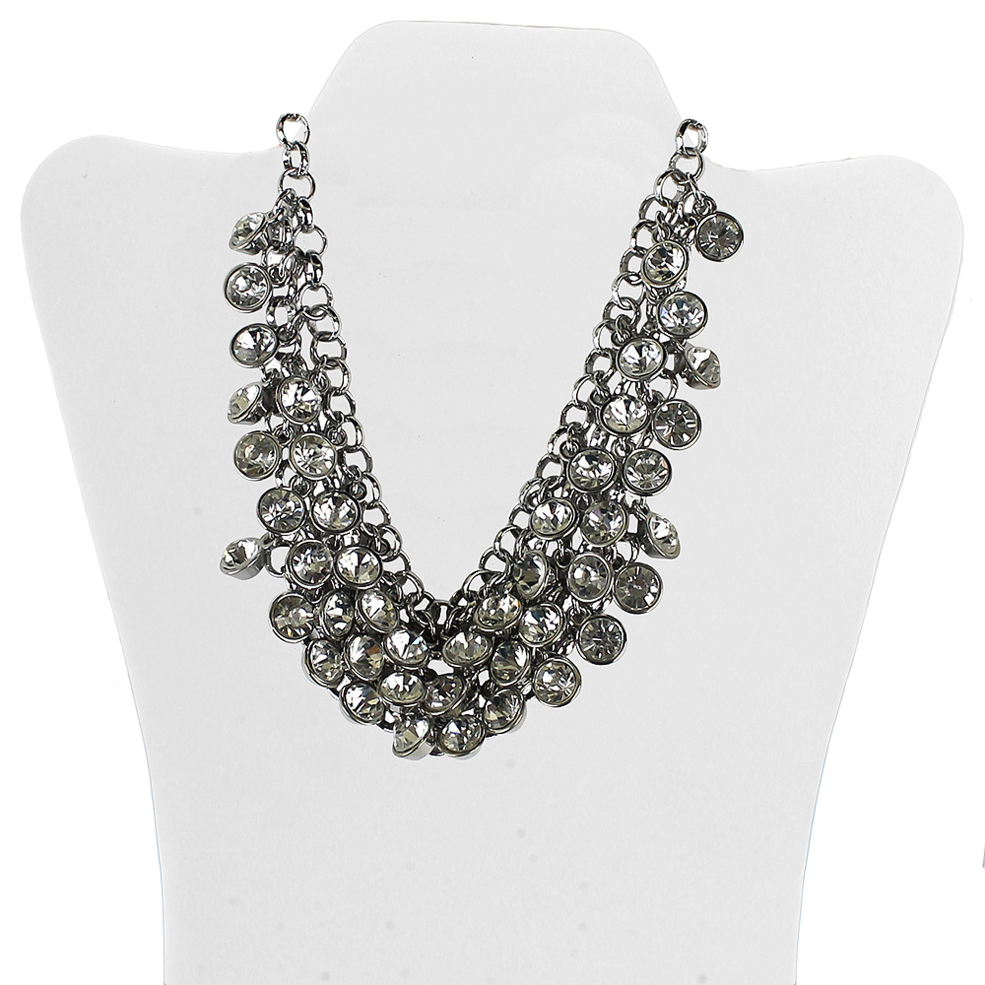 "Silver-Tone Stone Drop Statement Necklace, 20"" with 3"" Extender"