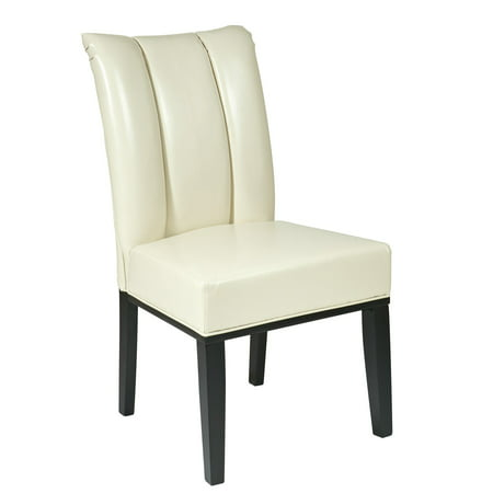 Office Star Designs Metro Parsons Pleated-Back Chair, Cream