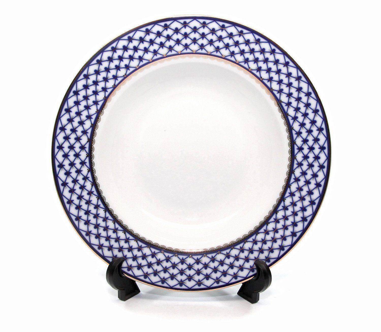 """1pc Soup Plate   Bowl 9"""" Lomonosov Porcelain Russian Cobalt Blue Net, 24K Gold by"""