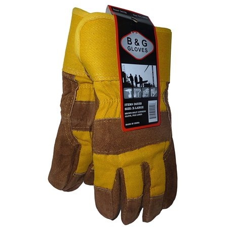 Mens Heavy Work Insulated Fleece Pile Lined Leather Winter Gloves Xl  Split Cowhide Leather By B