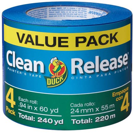 Blue Duck - Duck Brand Clean Release Blue Painter's Tape, 0.94 in. x 60 yd., 4-Pack