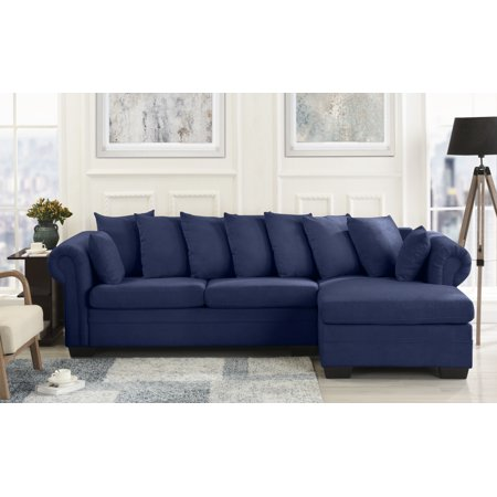 Modern Fabric L Shape Sectional Sofa Couch, Navy