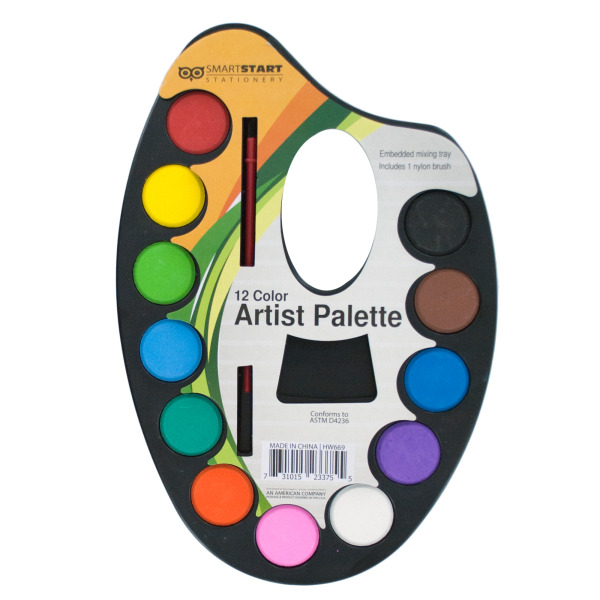 Watercolor Paint Artist Palette With Mixing Tray (Pack Of 24)