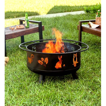 Woodland Animals Outdoor Fire Pit with Spark Guard & Fire Poker ()