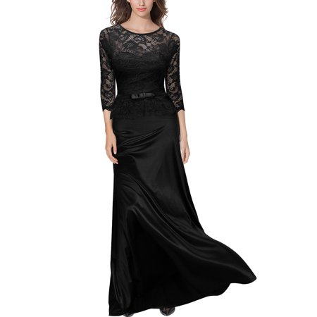 Women's Formal Evening Party Dresses,Floral Lace Long Maxi Wedding Dresses (Black,S) Black Gown Long Dress