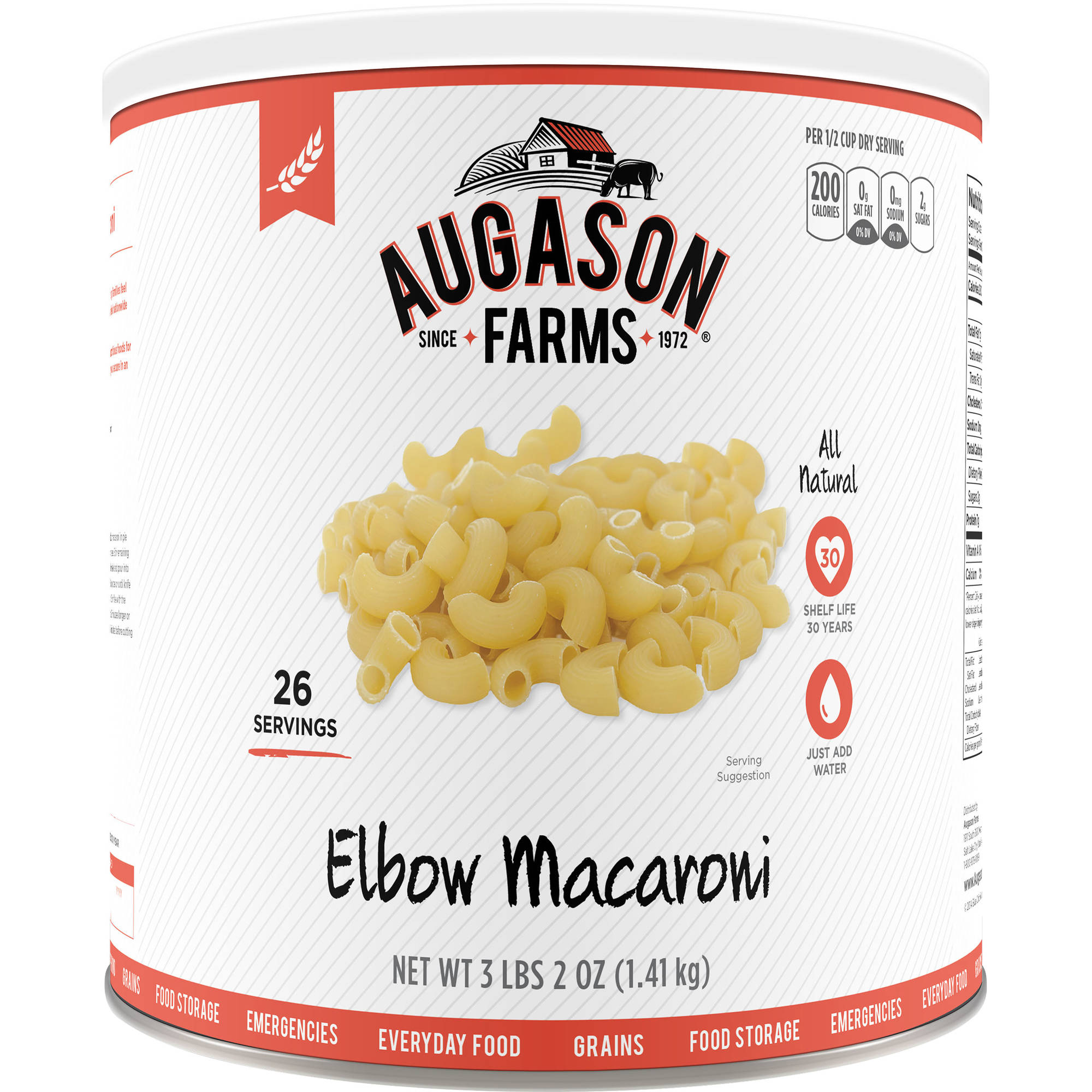 Augason Farms Elbow Macaroni Pasta, 50 oz