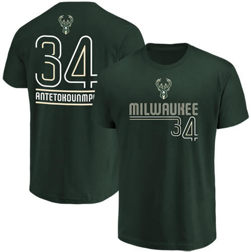 Men's Majestic Giannis Antetokounmpo Hunter Green Milwaukee Bucks Spirited Competitor Name & Number T-Shirt