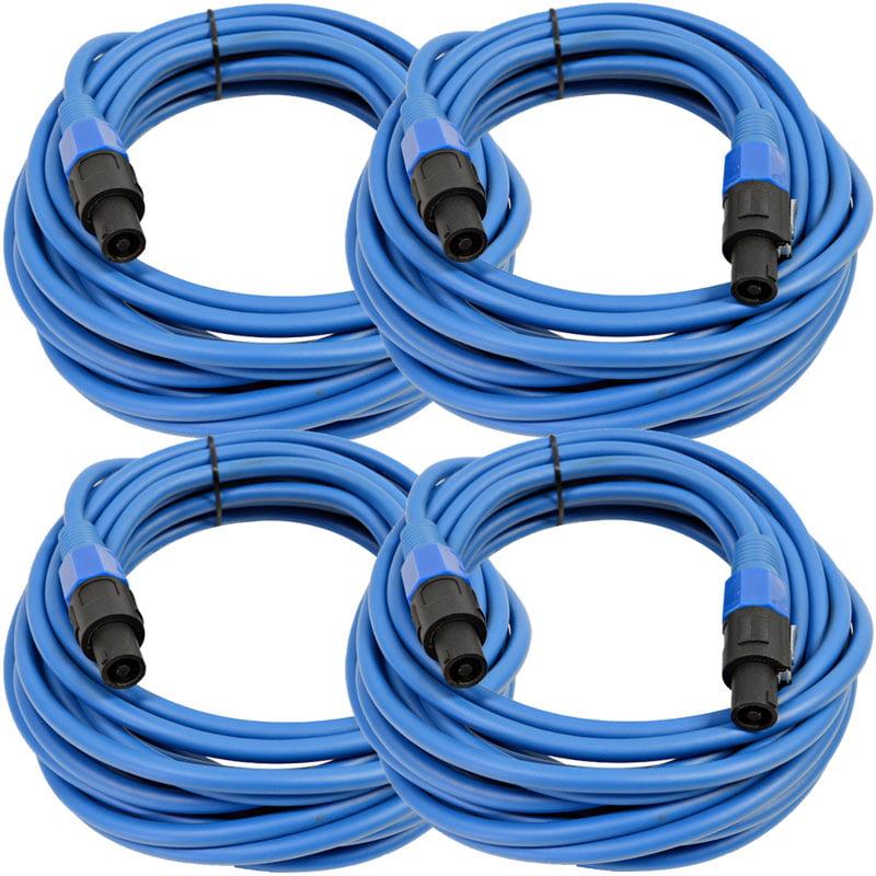 Seismic Audio  4 Pack of 12 Gauge 25' Blue Speakon to Speakon Speaker Cables Blue - TW12S25Blue-4Pack