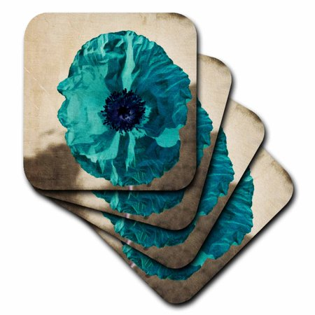 3dRose Teal Poppy- Flowers- Art- Nature, Soft Coasters, set of 4 (Teal Coasters)