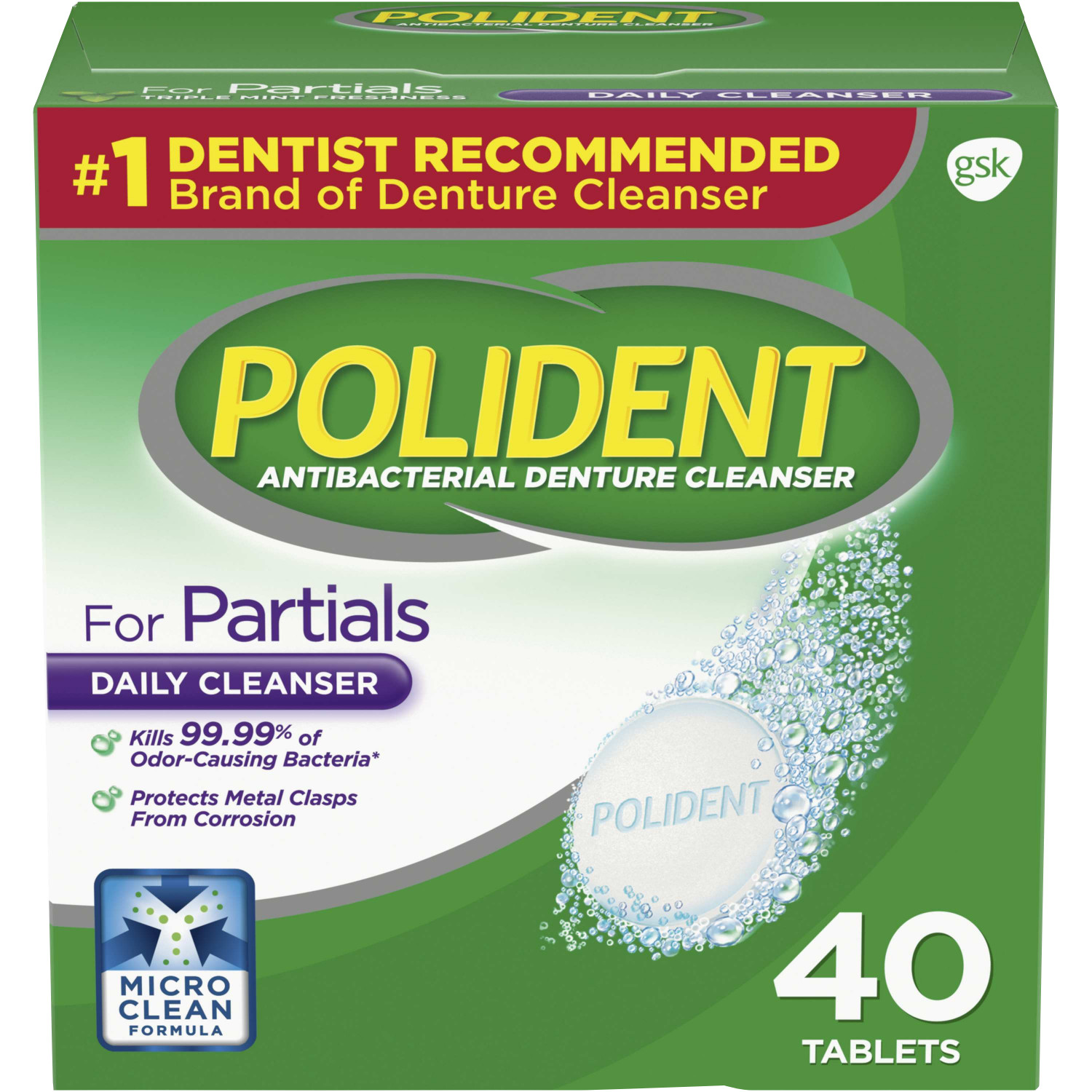 Polident Partials Antibacterial Denture Cleanser Effervescent Tablets, 40 count