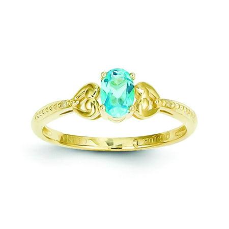 Polished 10K Yellow Gold Light Swiss Blue Topaz 0.01Ct Diamond Ring Open (Diamond Open Ring Swiss)