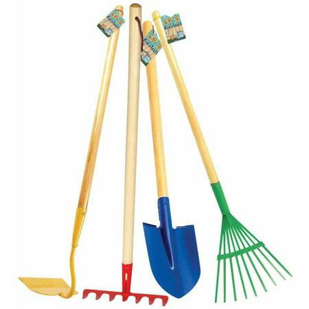 Toysmith Garden Tools: Shovel, Hoe, Leaf Rake and Garden Rake, Set of 4