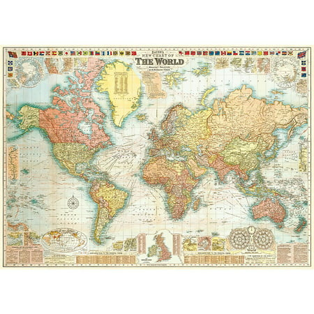 Cavallini & Co. World Map Decorative Decoupage Poster Wrapping Paper Sheet, Luxury Italian archival paper stock By Cavallini Co From USA