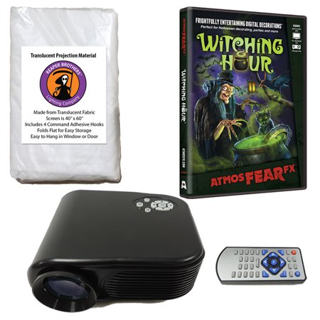 virtual reality halloween projector value kit with witching hour atmosfearfx dvd and screen