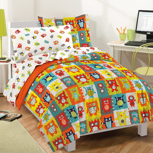 Dream Factory Silly Monsters Mini Bed in a Bag Bedding Set