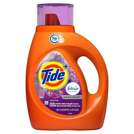Tide Plus Febreze Freshness Spring & Renewal HE Turbo Clean Liquid Laundry Detergent, 37 fl oz 24 loads
