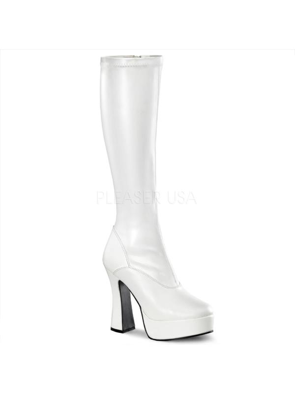 ELE2000Z/W/PU Pleaser Platforms (Exotic Dancing) Knee High Boots WHITE Size: 13