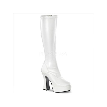 ELE2000Z/W/PU Pleaser Platforms (Exotic Dancing) Knee High Boots WHITE Size: 11