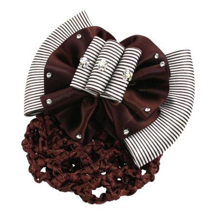 Unique Bargains White Coffee Color Striped Bow Tie Decor Hair Clip Barrette w Hair Net ()