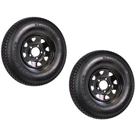 1.75 Black Frog (2-Pack Trailer Tire and Rim Bias Ply ST175/80D13 175/80 D 13C 5-4.5 Black)