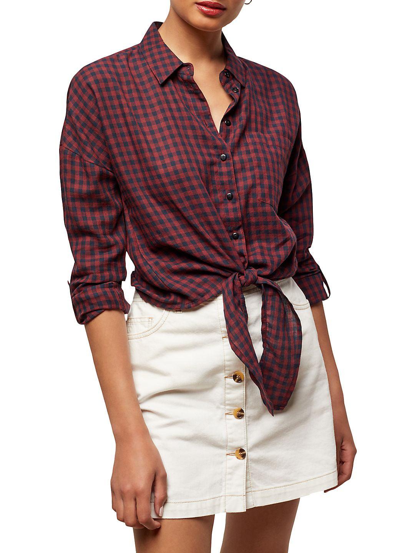 Checked Tie Cotton Button-Down Shirt