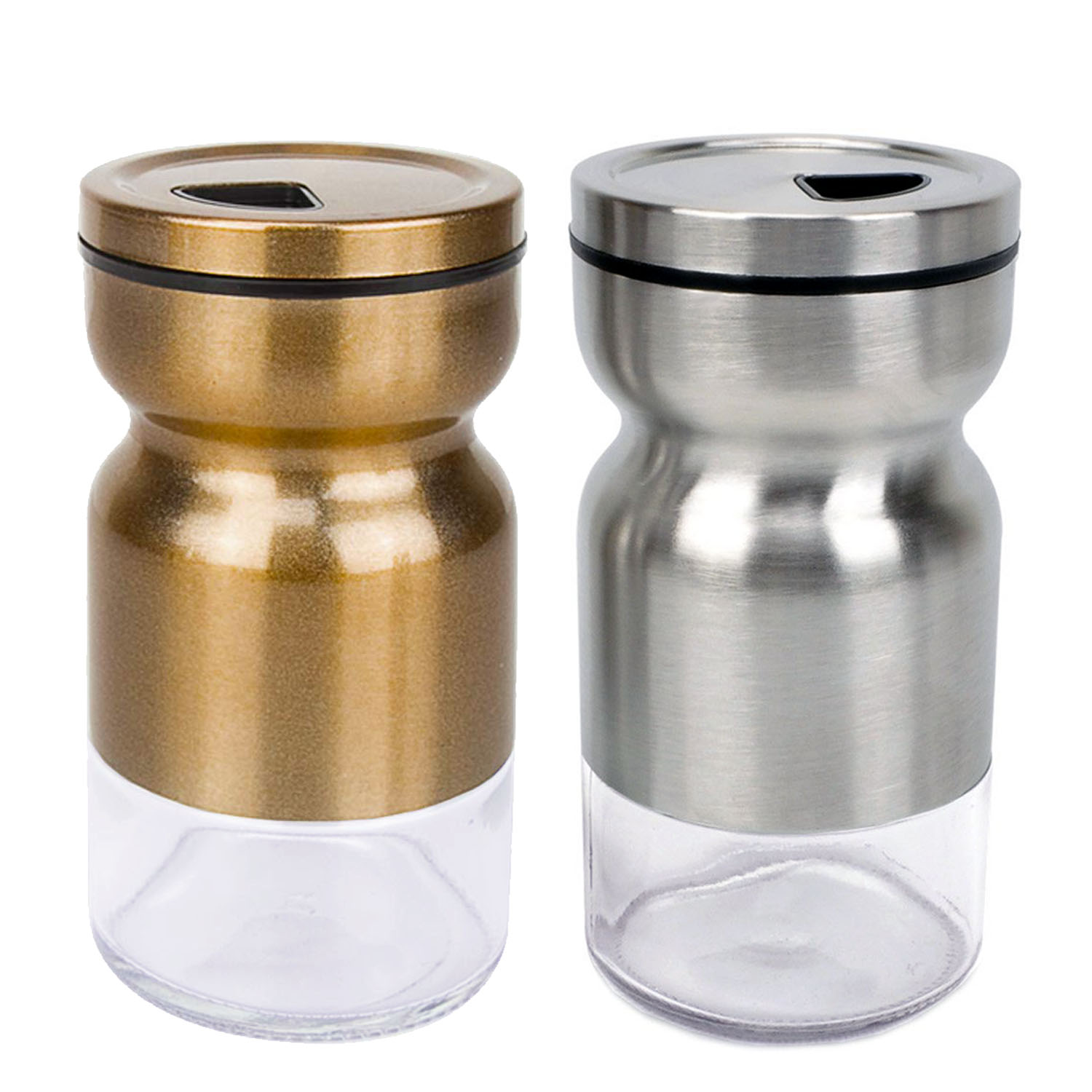 Salt & Pepper Shakers Stainless Steel Cover Glass Bottom With Rotating Cover - Spice Sugar Shakers