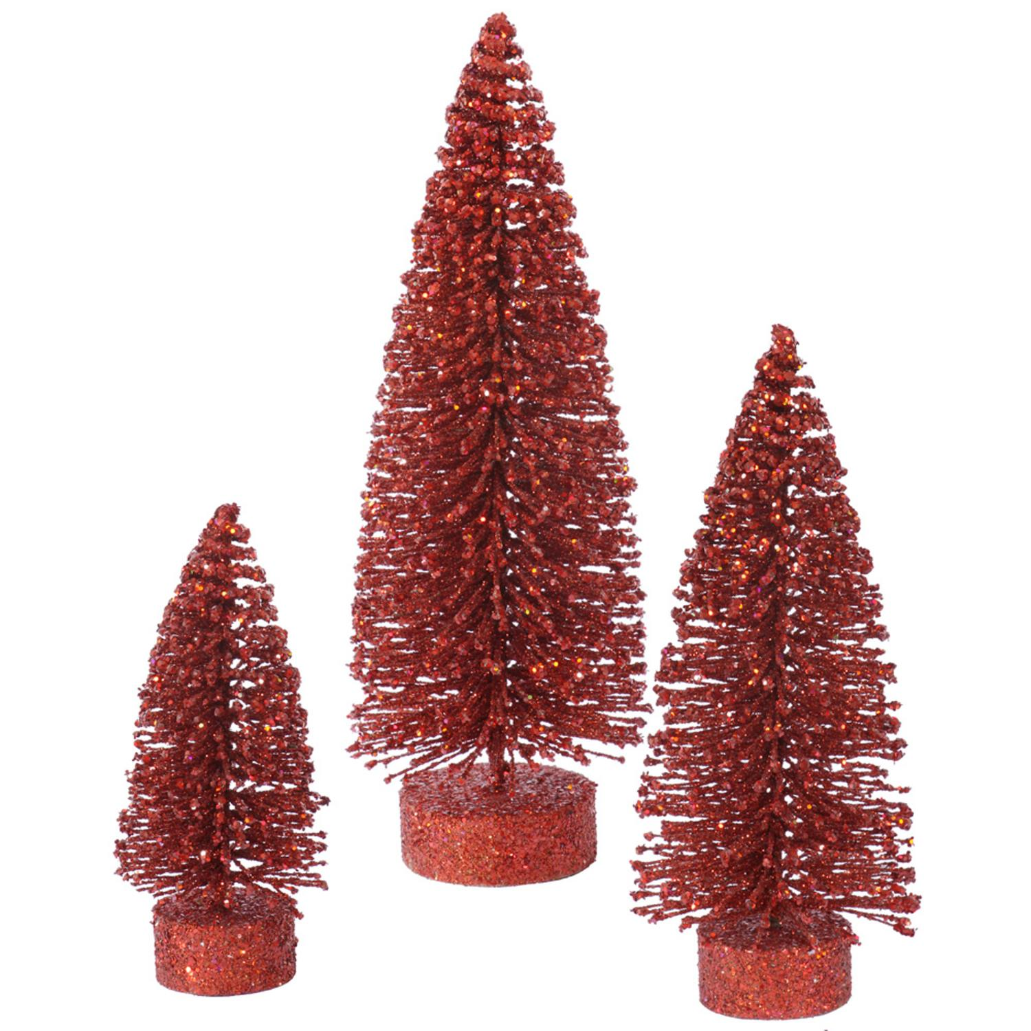 Set of 3 Red Glittered Bottle Brush Oval Artificial Christmas Tree Decorations