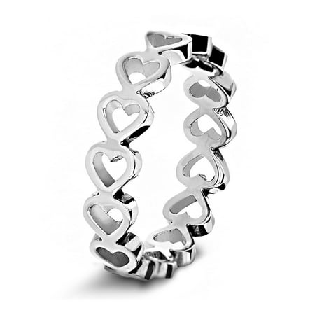 Polished Open Heart Eternity Stainless Steel Ring