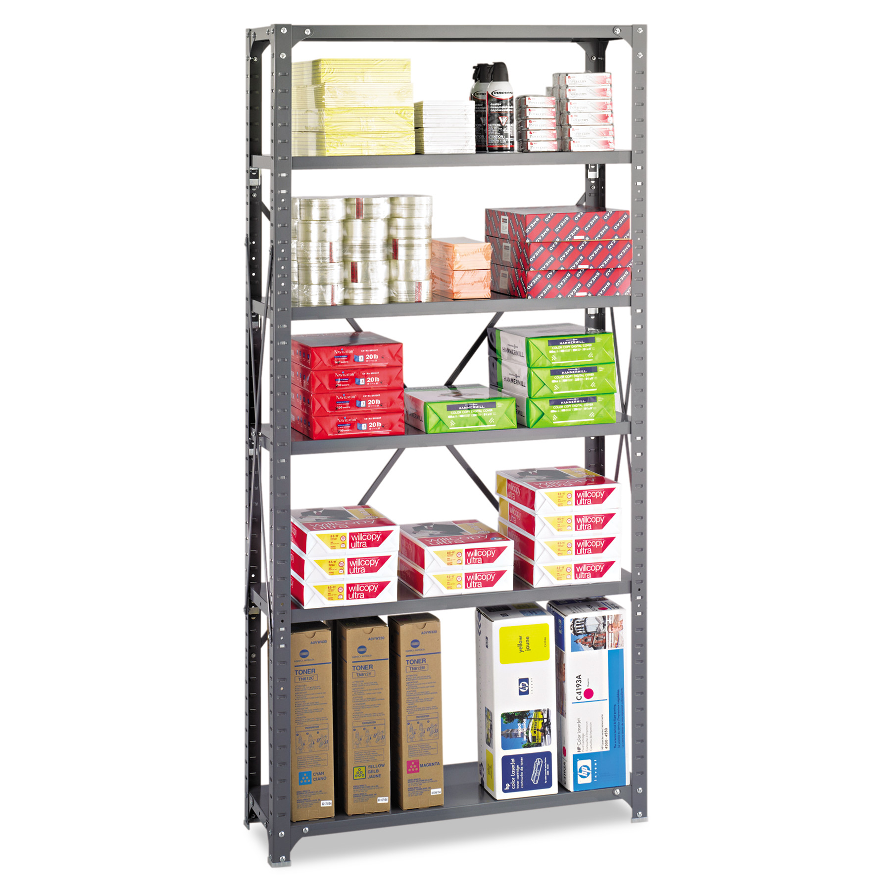 Safco Commercial Steel Shelving Unit, Six-Shelf, 36w x 12d x 75h, Dark Gray