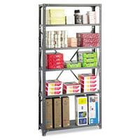 Safco Commercial Steel Shelving Unit, Six-Shelf, 36w x 12d x 75h, Dark Gray