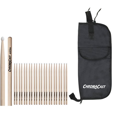 ChromaCast ROCK Hickory Nylon-Tipped Drumsticks, 12 Pairs with Drumstick Bag