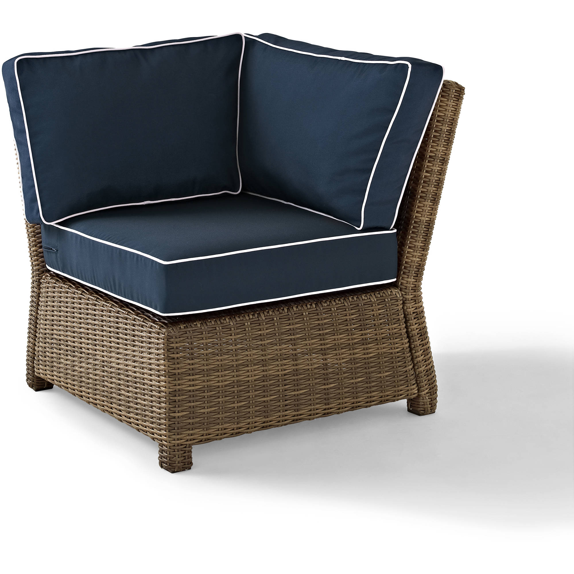 Crosley Furniture Bradenton Outdoor Wicker Sectional Corner Chair with Navy Cushions