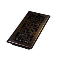 "Decor Grates 4"" x 10"" Steel Plated Rubbed Bronze Finish Gothic Design Floor Register"
