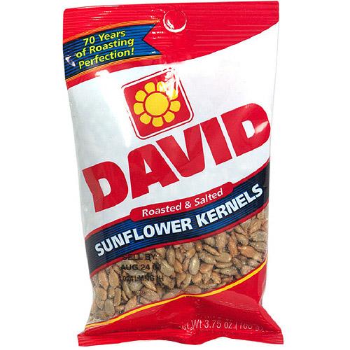 David Roasted & Salted Sunflower Kernels, 3.75 oz  (Pack of 12)