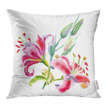 Erehome Bouquet Of Pink Lilies Watercolor Painting Wedding And Birthday Drawing Floral Lily Pillow Case Pillow Cover 16x16 Inch Throw Pillow Covers Walmart Canada