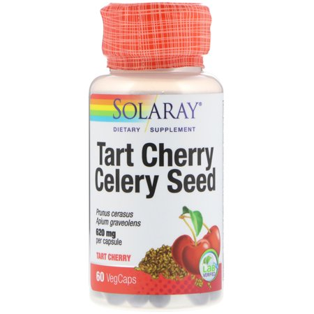Solaray Tart Cherry & Celery Seed | Healthy Uric Acid Levels, Joint, Muscle Recovery & Sleep Support | 60 VegCaps Joint Formula Tart Cherry