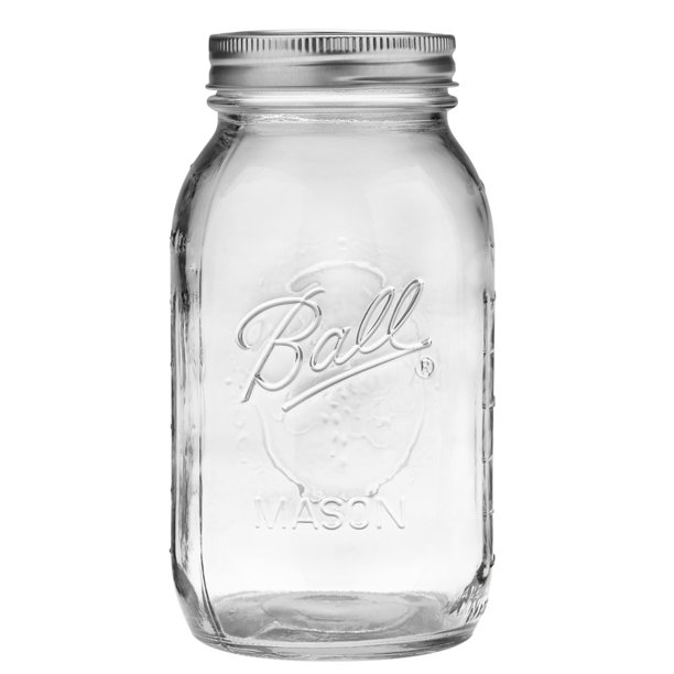 Ball, Glass Mason Jars with Lids & Bands, Regular Mouth, 32 oz, 12 Count