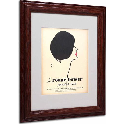 "Trademark Fine Art ""Le Rouge Baiser"" Matted Framed Art by Vintage Apple Collection, Wood Frame"
