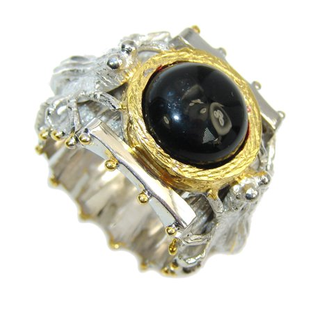 Secret AAA Black Onyx, Two Tones Sterling Silver ring s. 6