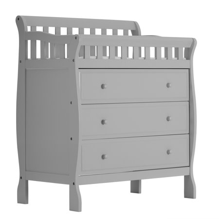 Dream On Me Marcus Changing Table And Dresser, Mystic Gray Antique White Changing Table