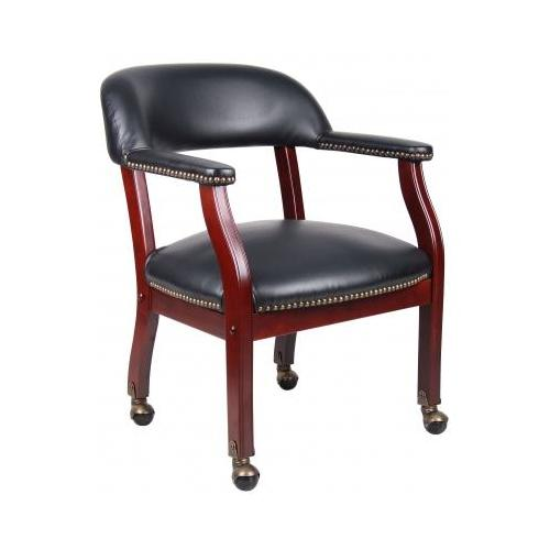 Boss Captain'S Chair In Black Vinyl W, Casters BSEB9545BK