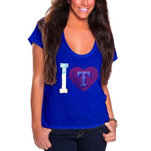 Texas Rangers Cuce Women's I Heart Team T-Shirt - Royal