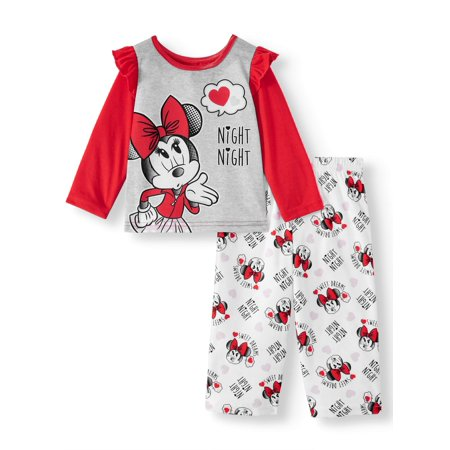 Minnie Mouse Baby Toddler Girl Long Sleeve Microfleece Pajamas, 2Pc Set ()